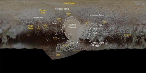 Nuevos topónimos para Plutón