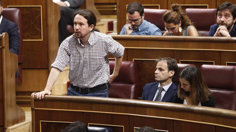 Iglesias y parte de su bancada durante la sesión de investidura fallida del 25 de julio.