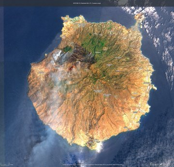 El incendio de Gran Canaria, visto desde el satélite Copernicus.