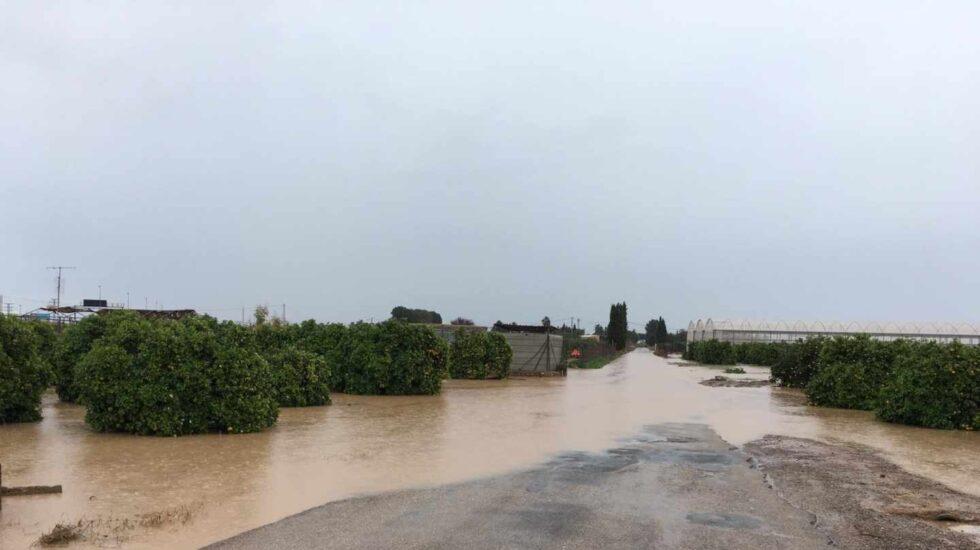 Campo inundado en San Javier (Murcia).