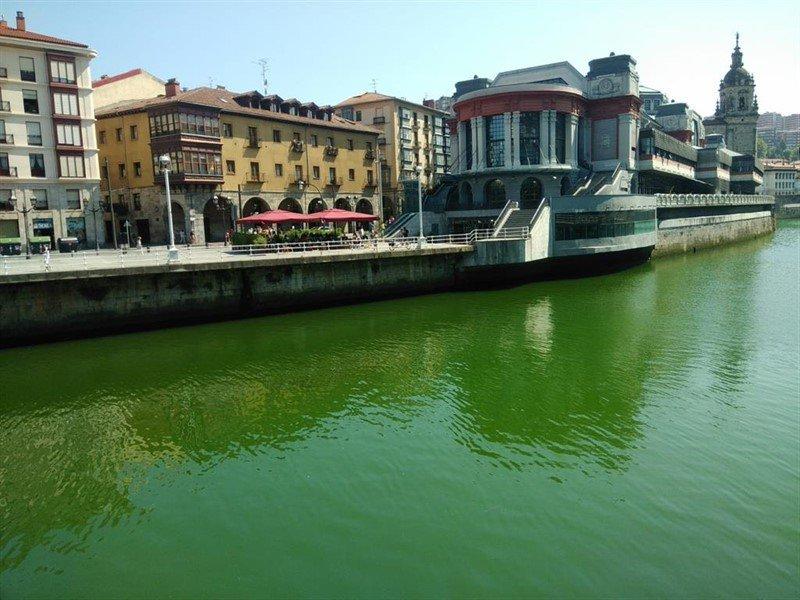 La ría de Bilbao teñida de color verde.