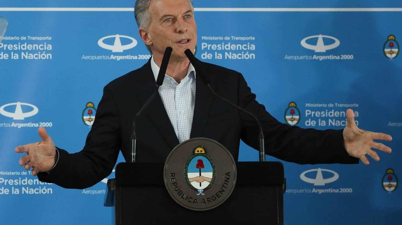 El presidente de Argentina, Mauricio Macri, en la inauguración de la ruta Madrid-Iguazú de Air Europa.