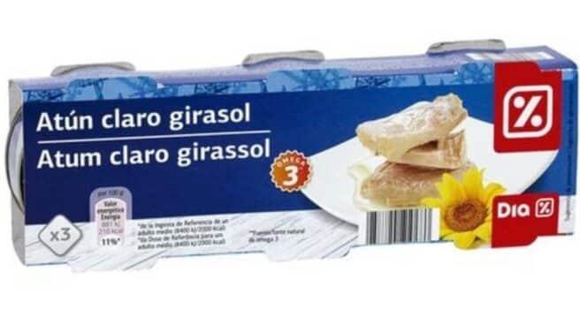Paquete de atún de aceite de girasol.