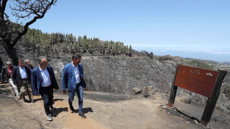 Pedro Sánchez, este jueves durante su visita a la zona afectada por el incendio de Gran Canaria.