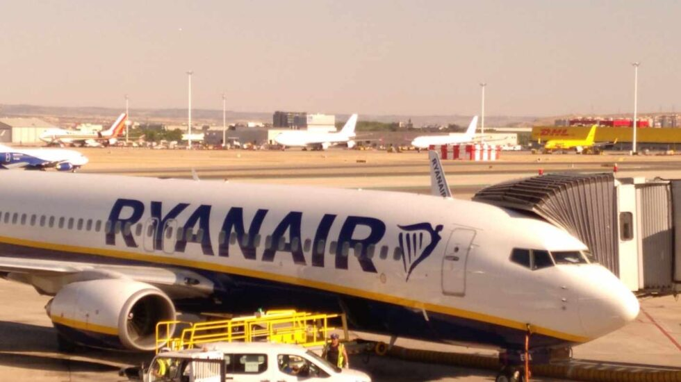Un avión de la aerolínea de bajo coste Ryanair.
