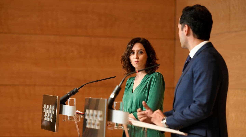 La presidenta de la Comunidad de Madrid, Isabel Díaz Ayuso, y el vicepresidente, Ignacio Aguado.