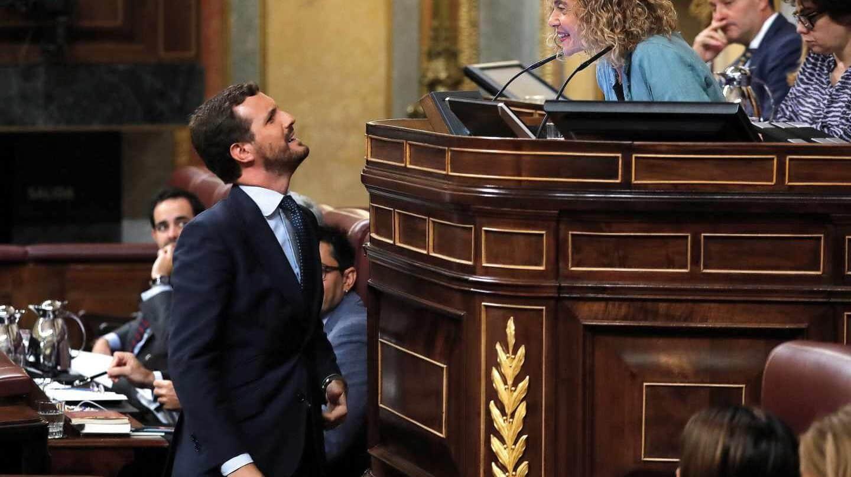 El líder del PP, Pablo Casado, durante la sesión de control en el Congreso de los Diputados.
