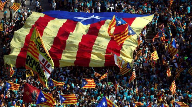 Plaza de España de Barcelona durante la manifestación con motivo de la Diada.