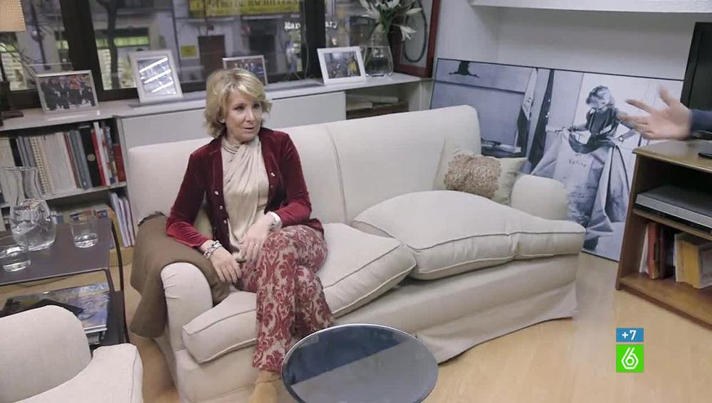 Esperanza Aguirre, en su despacho durante una entrevista en 'Salvados' (La Sexta)