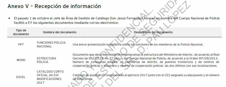 Anexo del informe de la consultora en la que hace referencia al catálogo sin incluir la Comisaría General de Información.