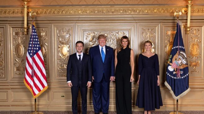 Volodímir Zelenski y Donald Trump en una imagen colgada en Twitter por el primer ministro ucraniano