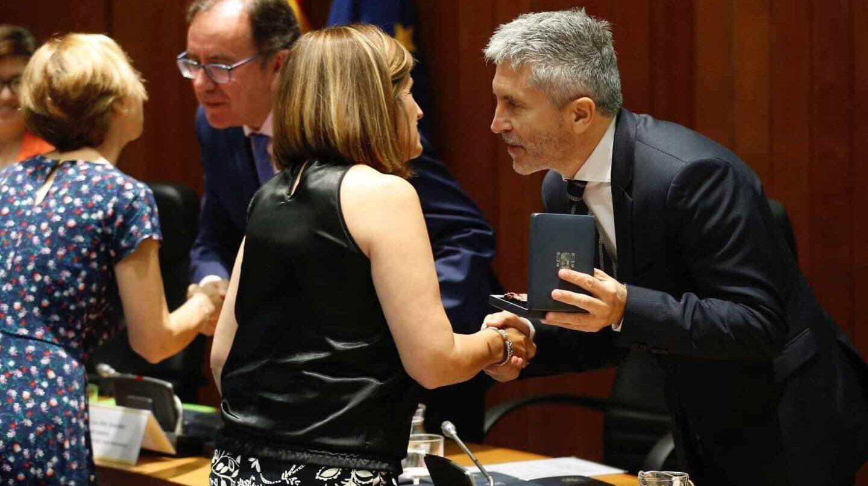 El ministro del Interior en funciones, Fernando Grande-Marlaska, durante la entrega este martes de las medallas al mérito penitenciario.
