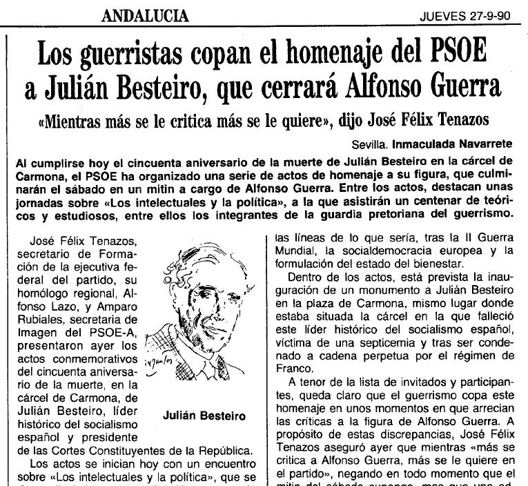 Crónica de las jornadas dedicadas a Besteiro en Carmona en 1990 publicada en el diario 'Abc'.