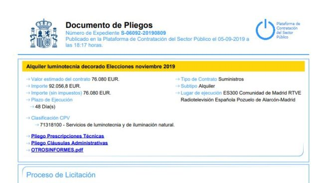 Pliego del contrato de alquiler de luminotecnia para las elecciones generales publicado por RTVE.