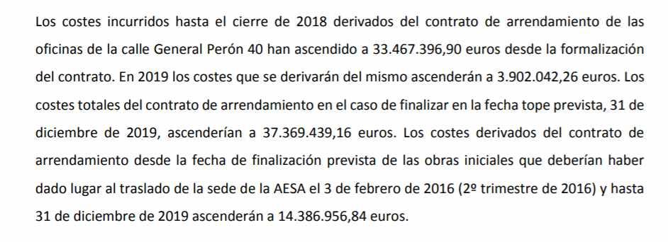 Extracto del informe de auditoría en el que se detalla el coste que ha tenido ya el alquiler.
