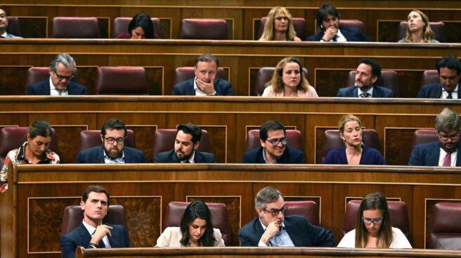 El Grupo Parlamentario de Ciudadanos, este martes en el Congreso.