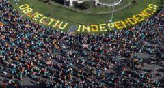 Vista aérea de la plaza de España de Barcelona al inicio de la manifestación de la Diada.