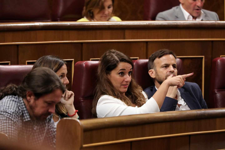Iglesias, Belarra o Vera durante la comparecencia de Calvo para rendir cuentas sobre el Open Arms.