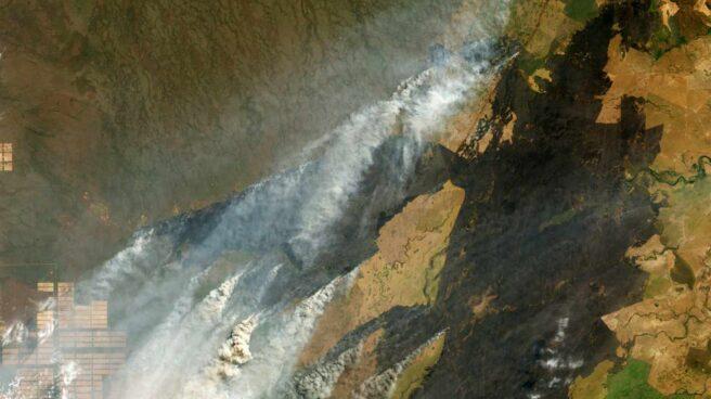 Imagen tomada por la NASA sobre los incendios que golpean la región del Amazonas en Bolivia.