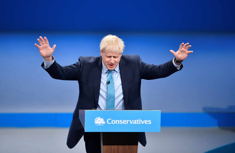 Boris Johnson durante su discurso en la conferencia del Partido Conservador