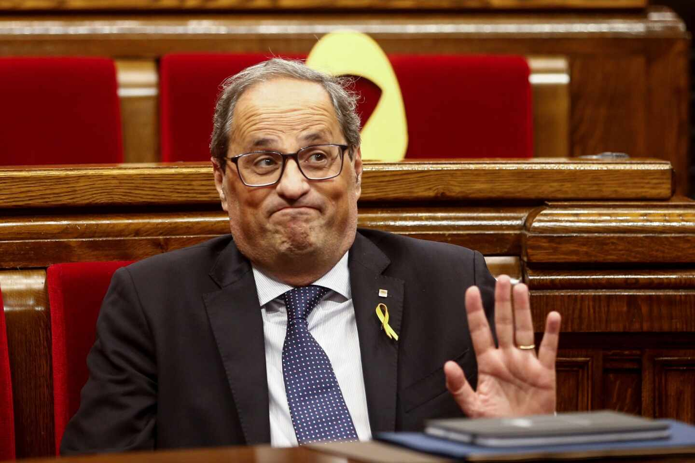 El presidente de la Generalitatd de Cataluña, Quim Torra, durante la votación de moción de censura.