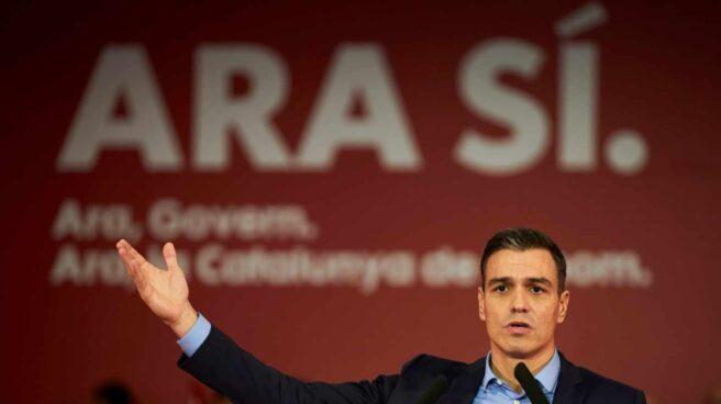 El presidente del Gobierno en funciones, Pedro Sánchez, interviene en un acto preelectoral celebrado este miércoles en Viladecans, Barcelona.