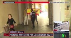 Pelea en Gerona entre independentistas y una pareja con la bandera de España