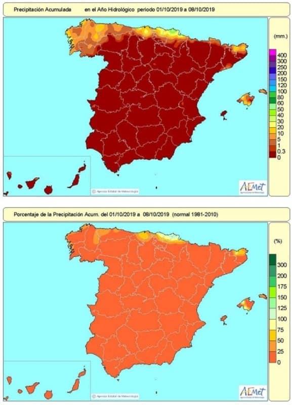 España acumula un 6% de las lluvias que serían normales en lo que va de octubre