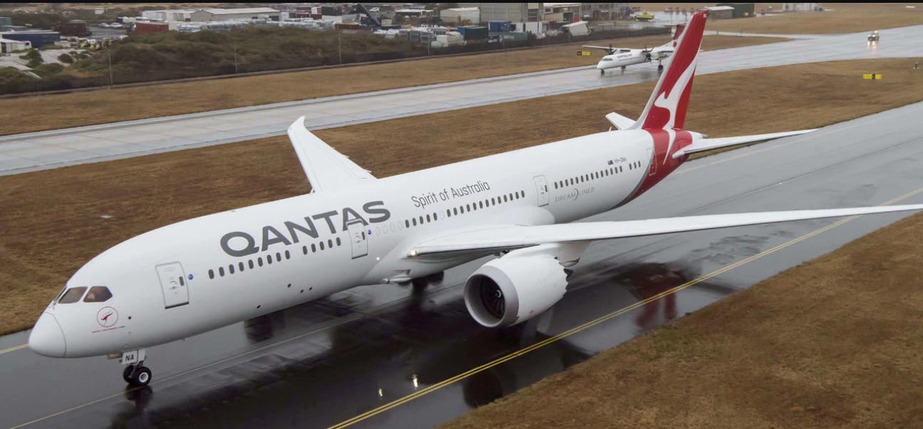 Un avión Boeing 787 Dreamliner de la aerolínea australiana Qantas.