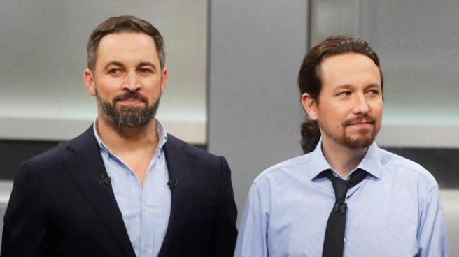 El líder de Vox, Santiago Abascal y el ex líder de Podemos, Pablo Iglesias.