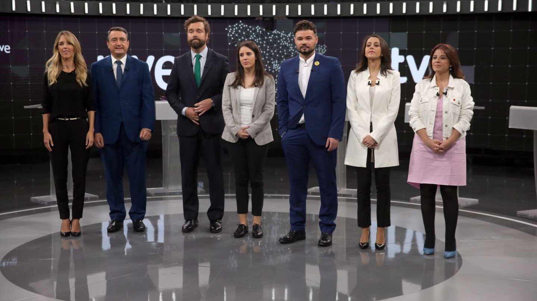 Los portavoces, en el debate a siete de RTVE.
