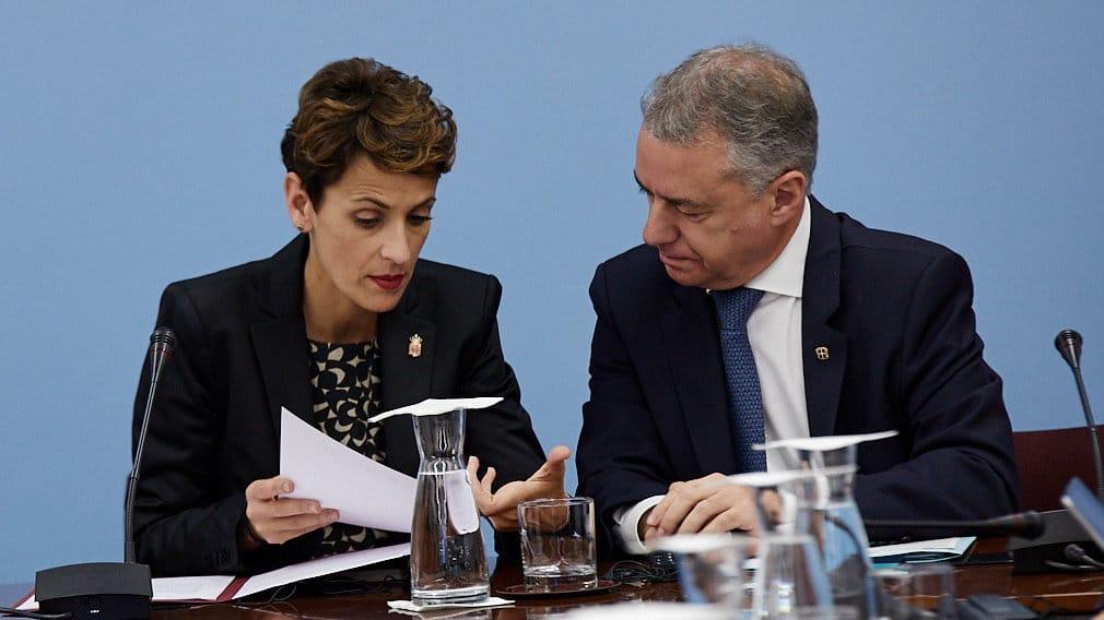 La presidenta de Navarra, María Chivite, junto al lehendakari, Iñigo Urkullu.