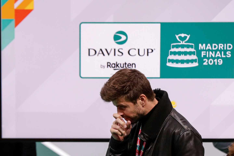 Piqué durante la presentación de la Copa Davis