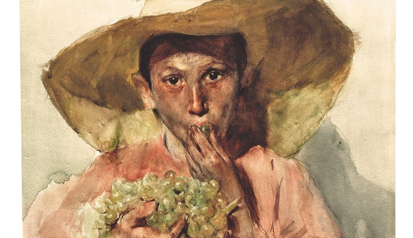 Joaquín Sorolla. Comiendo uvas, 1898. Acuarela sobre papel. Museo Sorolla