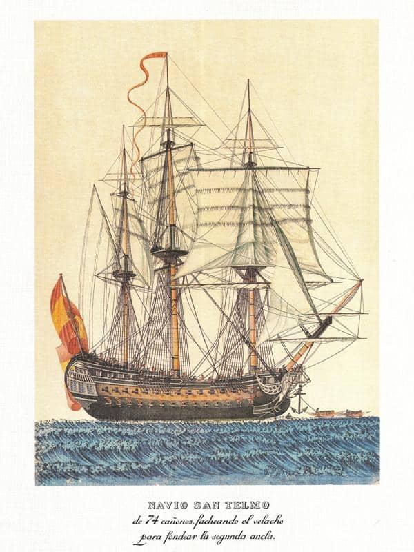 Navío San Telmo de la Armada Española, realizado por Alejo Berlinguero (1750-1810), museo naval de Madrid