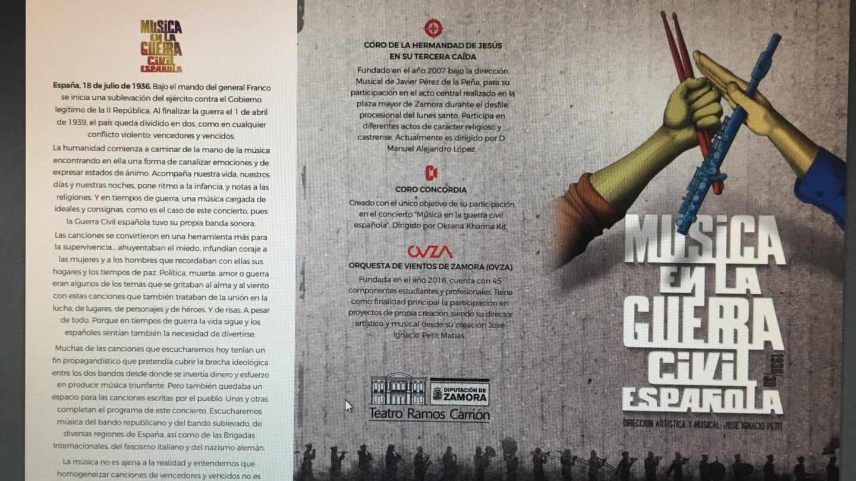 Cartel del concierto 'Música en la Guerra Civil española'.