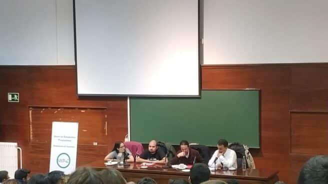 Iglesias en la Facultad de Derecho de la Complutense, durante la charla sobre antifascismo.