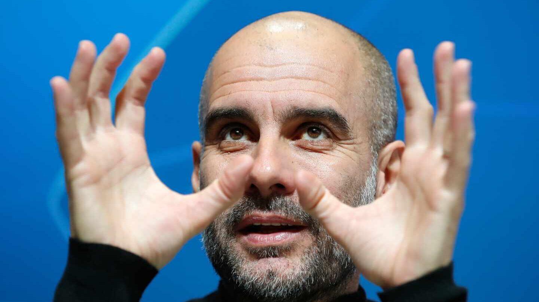 Josep Guardiola, en una rueda de prensa con el Manchester City