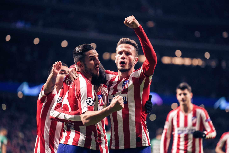 Jugadores del Atlético de Madrid celebran un gol en un partido de Champions.