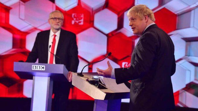Boris Johnson y Jeremy Corbyn último debate en BBC