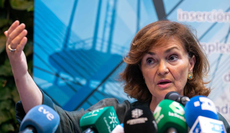 Carmen Calvo, actual vicepresidenta del Gobierno, en un acto universitario.