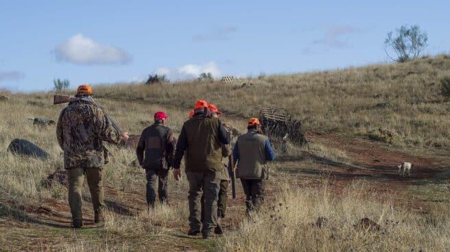 Varios cazadores en una batida en el monte.
