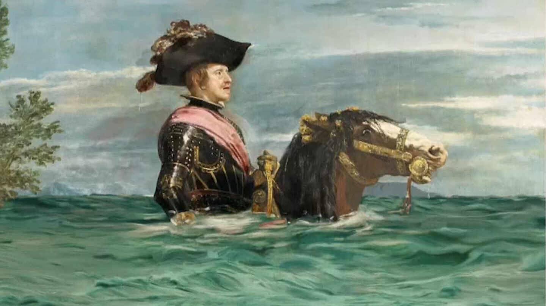 """Simulación de lo que sería el cuadro """"Felipe IV a caballo"""", de Velázquez, con el cambio climático"""