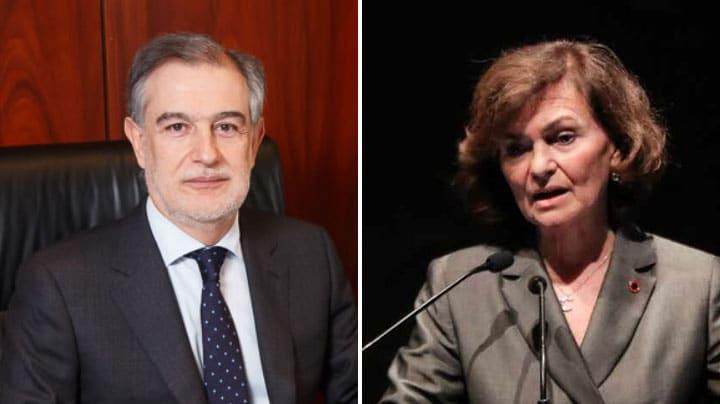El magistrado Pablo Lucas y la vicepresidenta del Gobierno en funciones, Carmen Calvo.
