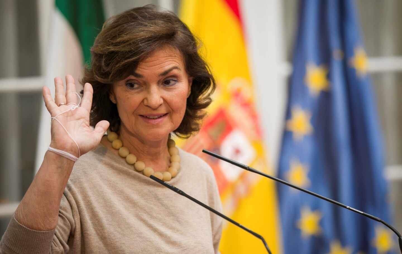 Carmen Calvo, vicepresidenta y ministra de la Presidencia en funciones.
