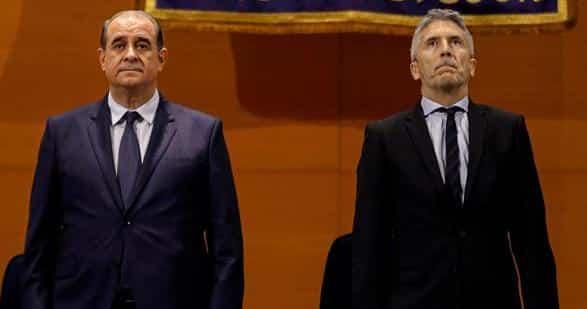 El director general de la Policía, Francisco Pardo Piqueras, y el ministro del Interior en funciones, Fernando Grande-Marlaska, este jueves en Madrid.