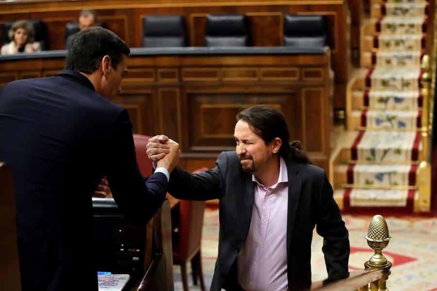 Pablo Iglesias, durante la reciente sesión de investidura de Pedro Sánchez.