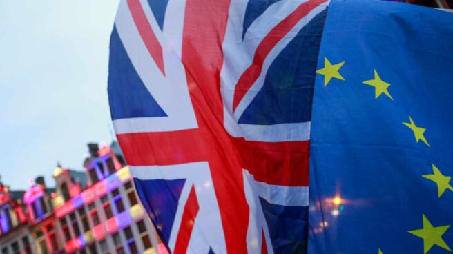 Union Jack-Bandera de UE-Brexit