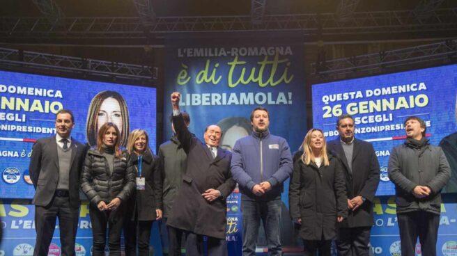 Salvini y aliados en Emilia-Romaña