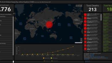 Mapa en tiempo real para monitorizar los casos de coronavirus